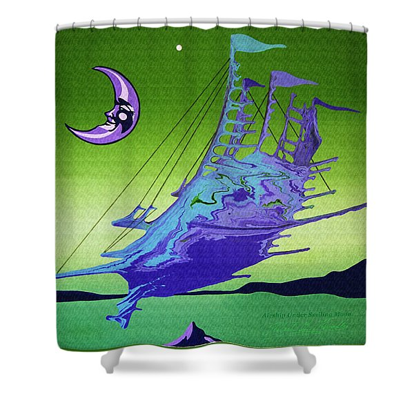 Shower Curtain featuring the painting Airship Under A Smiling Moon  by Robert G Kernodle