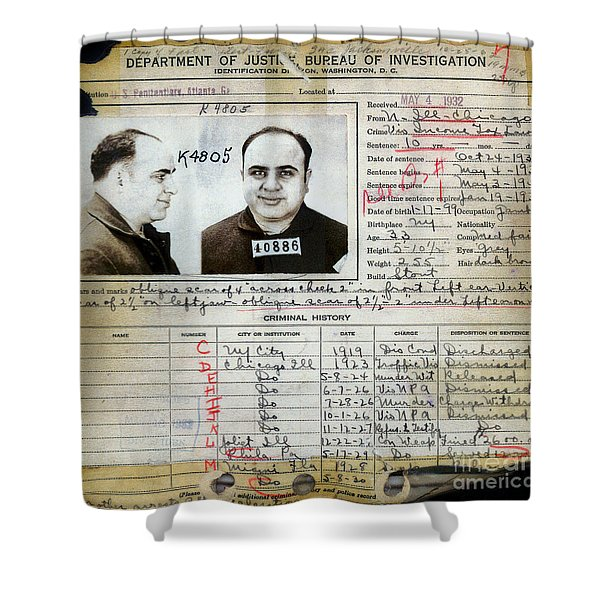 Al Capone Mugshot And Criminal History Shower Curtain