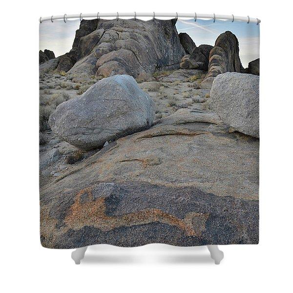 Alabama Hills Boulders At Dusk Shower Curtain