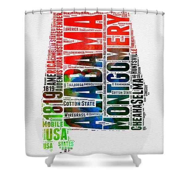 Alabama Watercolor Word Cloud  Shower Curtain