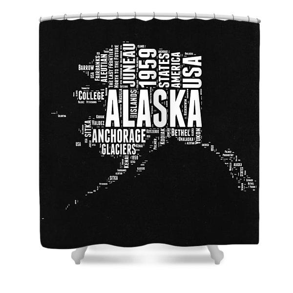 Alaska Black And White Map Shower Curtain