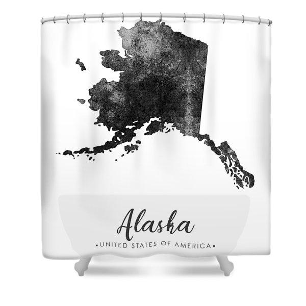 Alaska State Map Art - Grunge Silhouette Shower Curtain