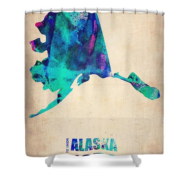 Alaska Watercolor Map Shower Curtain