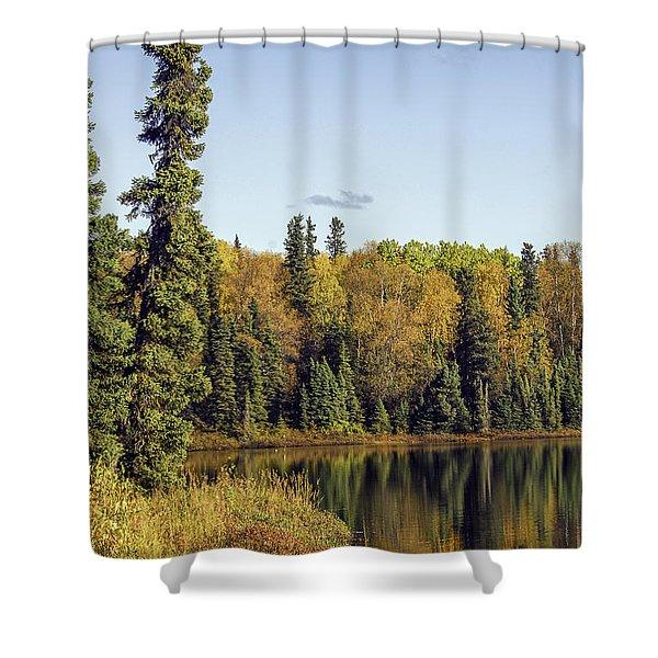 Alaskan Lake In Autumn Shower Curtain