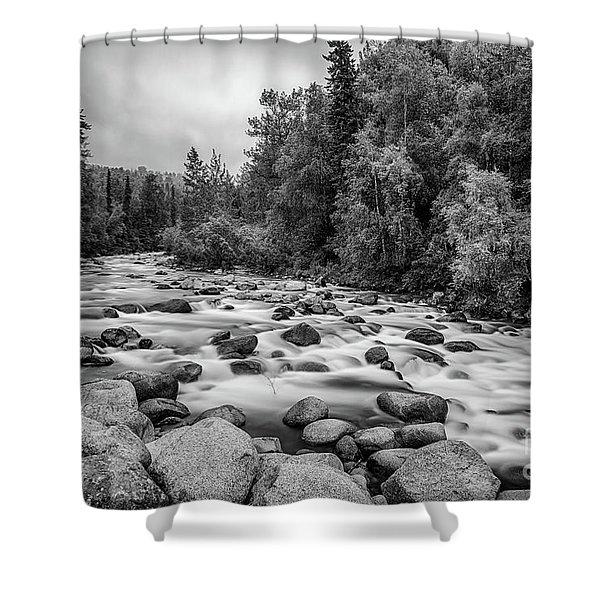 Alaskan Stream In Black And White Shower Curtain