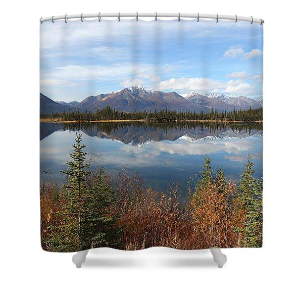 Reflections At Alaska's Mentasta Lake Shower Curtain