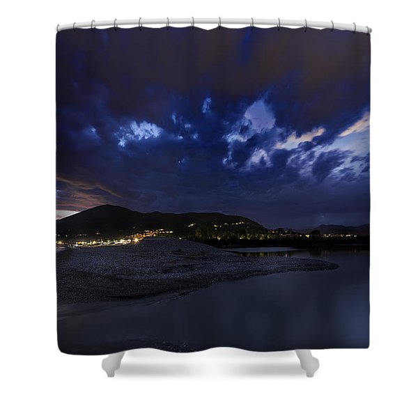 Albenga Alassio Coast Sunset With Clouds... Shower Curtain