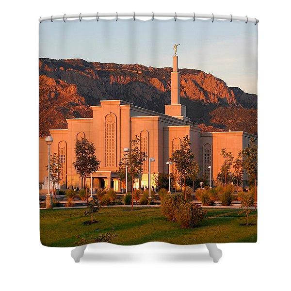 Albuquerque Lds Temple At Sunset 1 Shower Curtain