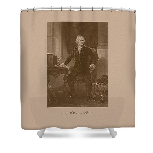 Alexander Hamilton Sitting At His Desk Shower Curtain