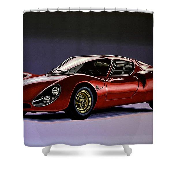 Alfa Romeo 33 Stradale 1967 Painting Shower Curtain