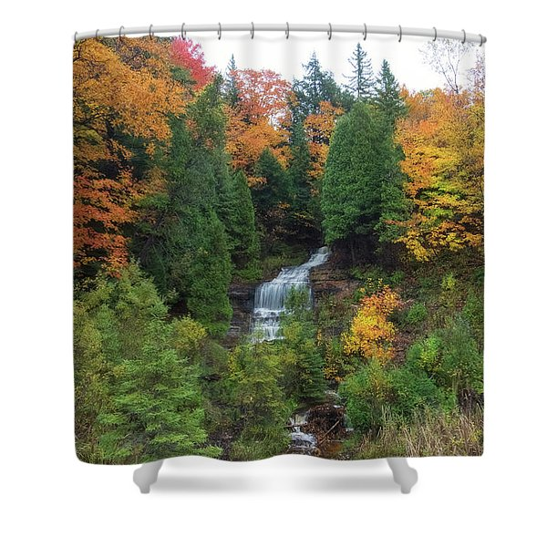 Shower Curtain featuring the photograph Alger Falls by Heather Kenward