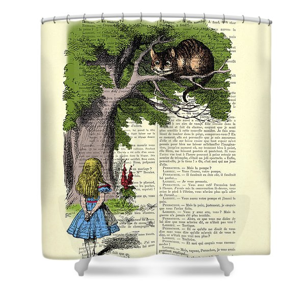 Alice In Wonderland And Cheshire Cat Shower Curtain