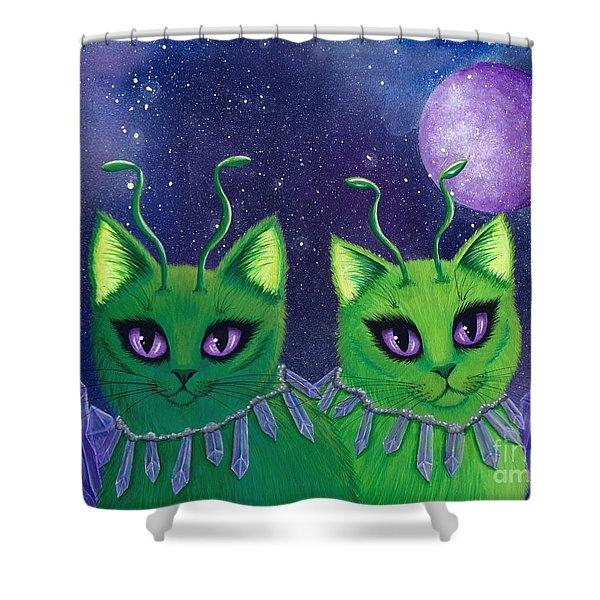 Alien Cats Shower Curtain