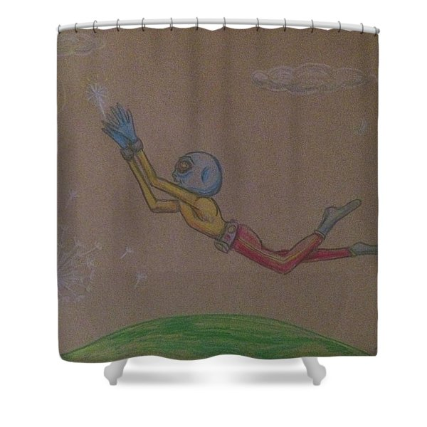 Alien Chasing His Dreams Shower Curtain