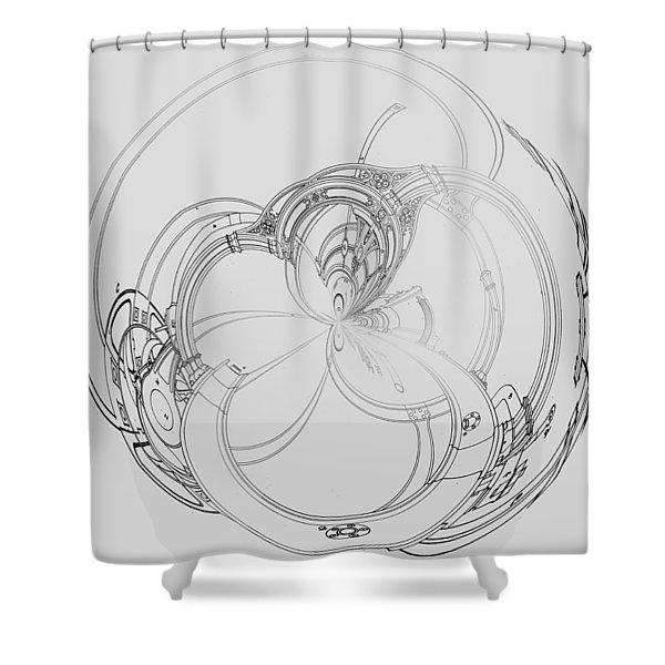 Shower Curtain featuring the digital art Alien Flywheel by Robert G Kernodle