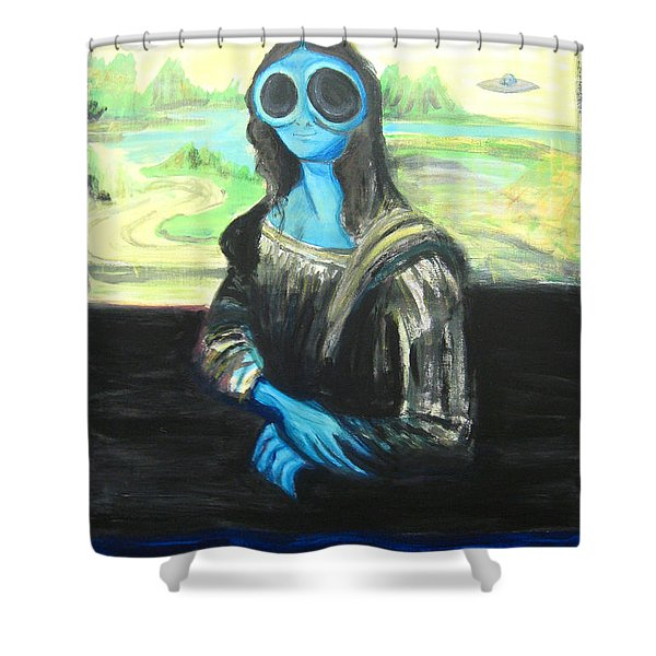 alien Mona Lisa Shower Curtain