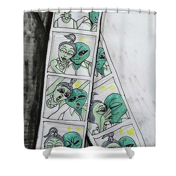 alien Photo Booth  Shower Curtain