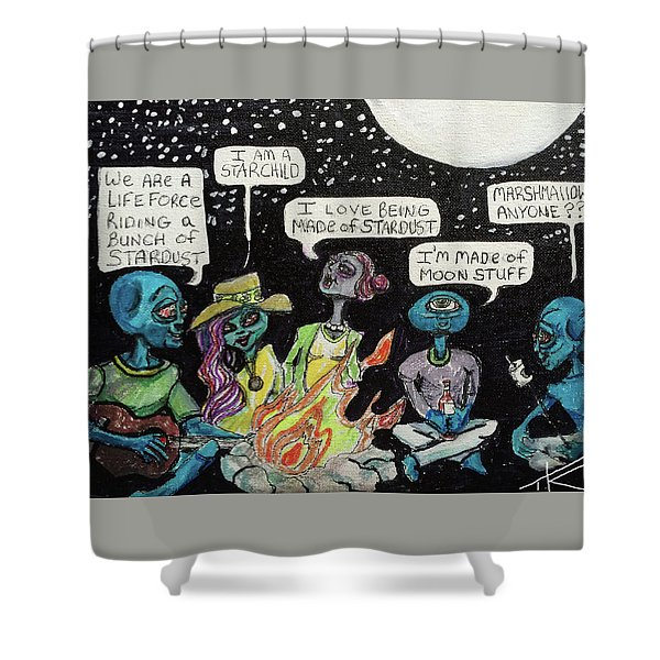 Aliens By The Campfire Shower Curtain