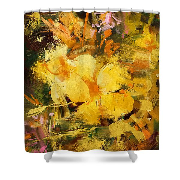 Shower Curtain featuring the painting Allamanda by Tithi Luadthong
