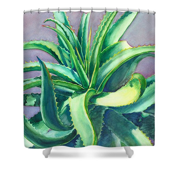 Aloe Vera Watercolor Shower Curtain