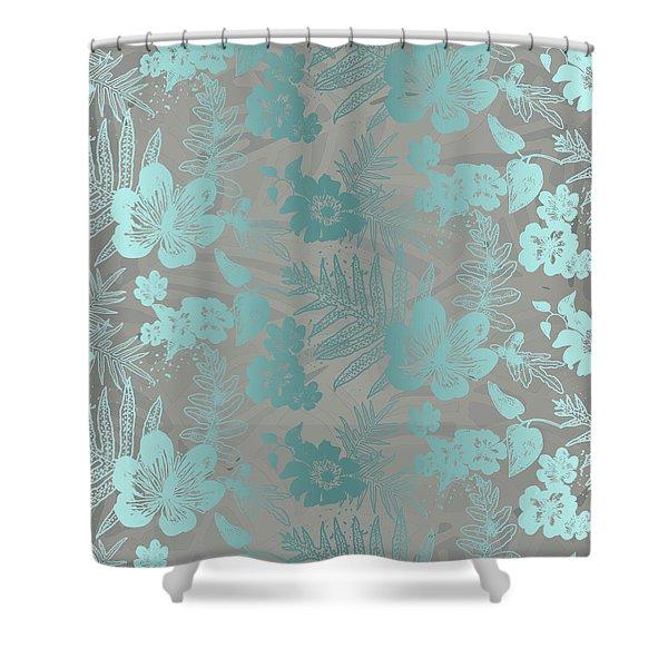 Aloha Damask Taupe Aqua Shower Curtain