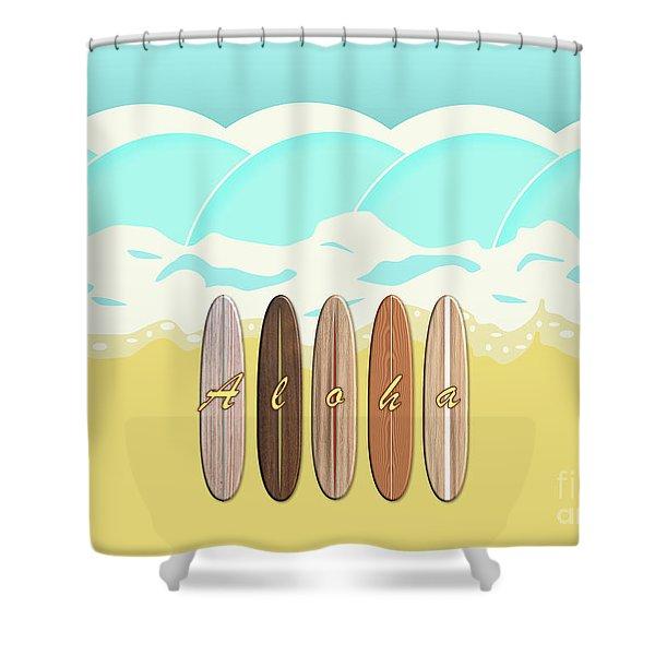 Aloha Surf Wave Beach Shower Curtain