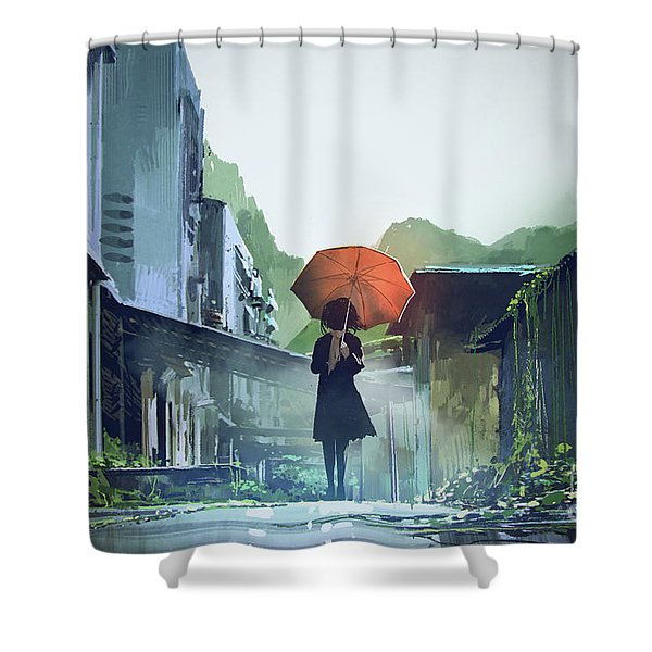 Shower Curtain featuring the painting Alone In The Abandoned Town by Tithi Luadthong