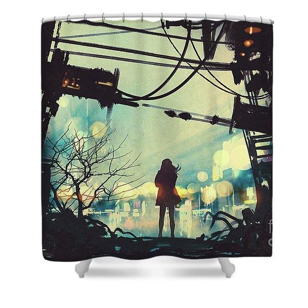 Alone In The Abandoned Town#2 Shower Curtain