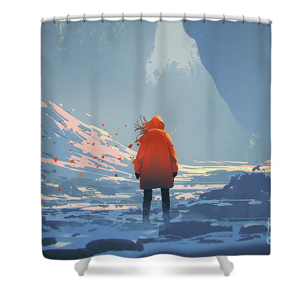 Shower Curtain featuring the painting Alone In Winter by Tithi Luadthong