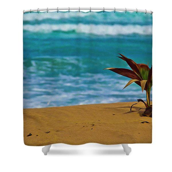 Alone On The Beach Shower Curtain