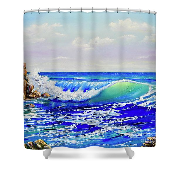 Shower Curtain featuring the painting Along The Coast by Mary Scott