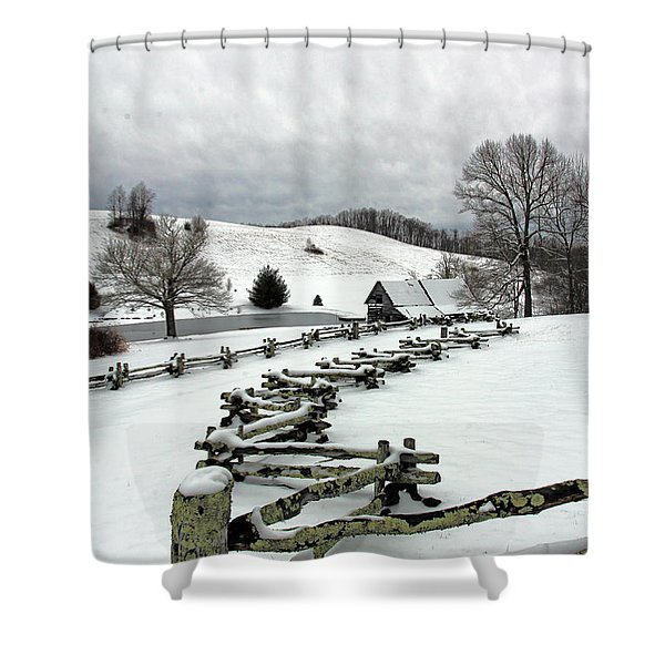Along The Locust Rails In Winter Shower Curtain