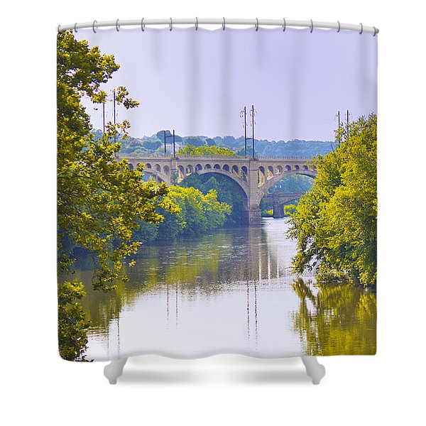 Along The Schuylkill River In Manayunk Shower Curtain by Bill Cannon