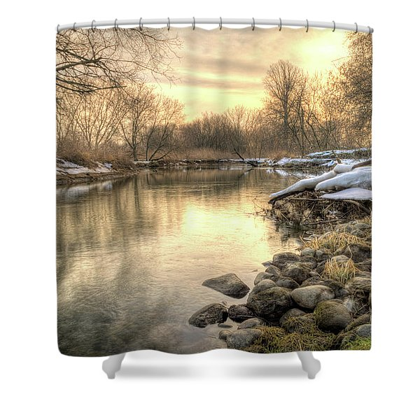 Shower Curtain featuring the photograph Along The Thames River Signed by Garvin Hunter