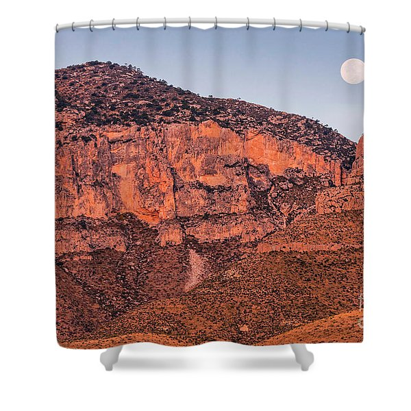 Alpenglow And Full Moon Over Guadalupe Mountains National Park - Culberson County West Texas Shower Curtain