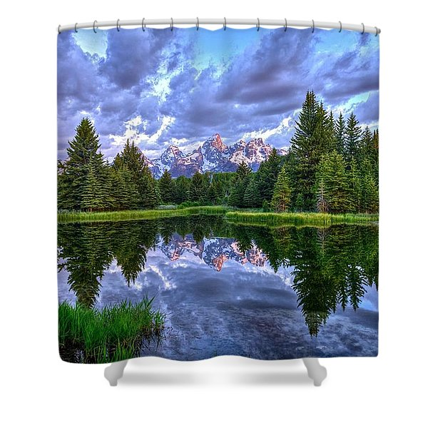 Alpenglow In The Tetons Shower Curtain