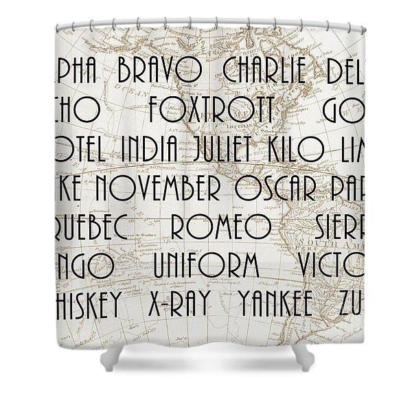 Alpha Bravo Charlie Shower Curtain