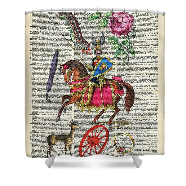 Alphabet Book Illustration Over Old Dictionary Book Page Shower Curtain
