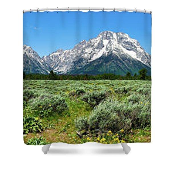 Alpine Meadow Teton Panorama Shower Curtain