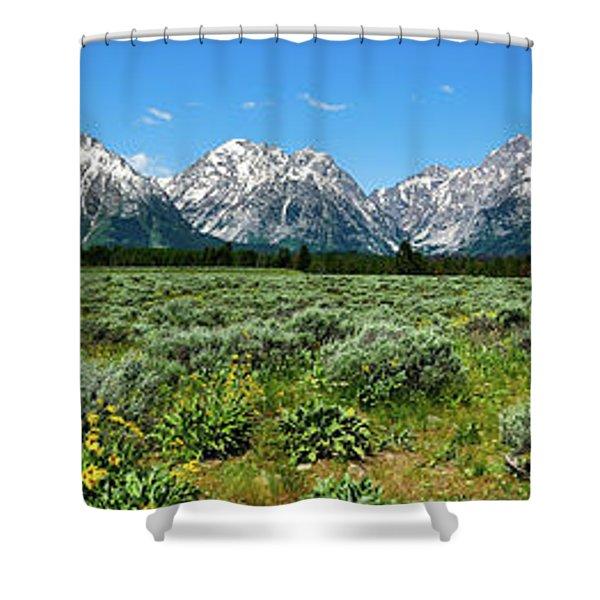 Alpine Meadow Teton Panorama II Shower Curtain