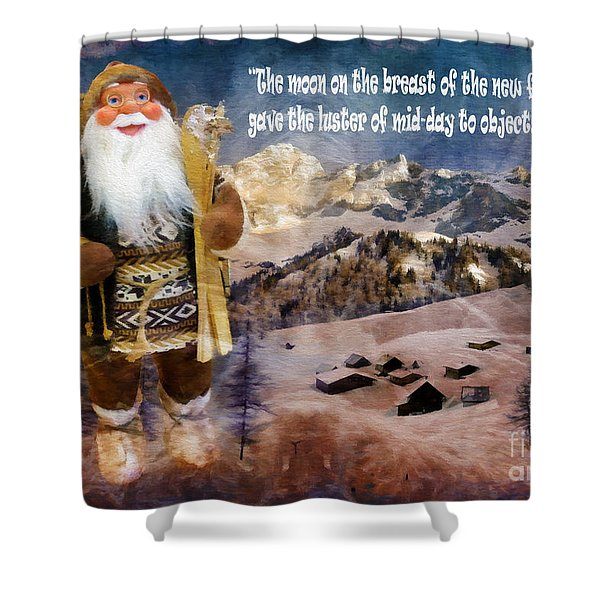 Alpine Santa Card 2015 Shower Curtain