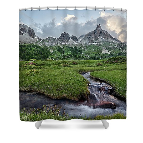 Alps In The Afternoon Shower Curtain