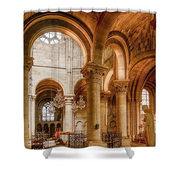 Poissy, France - Altar, Notre-dame De Poissy Shower Curtain
