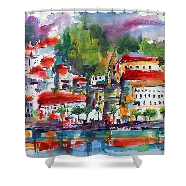 Amalfi Coast Italy Expressive Watercolor Shower Curtain
