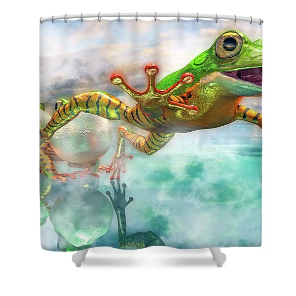 Amazon Frog Mighty Jumper Shower Curtain