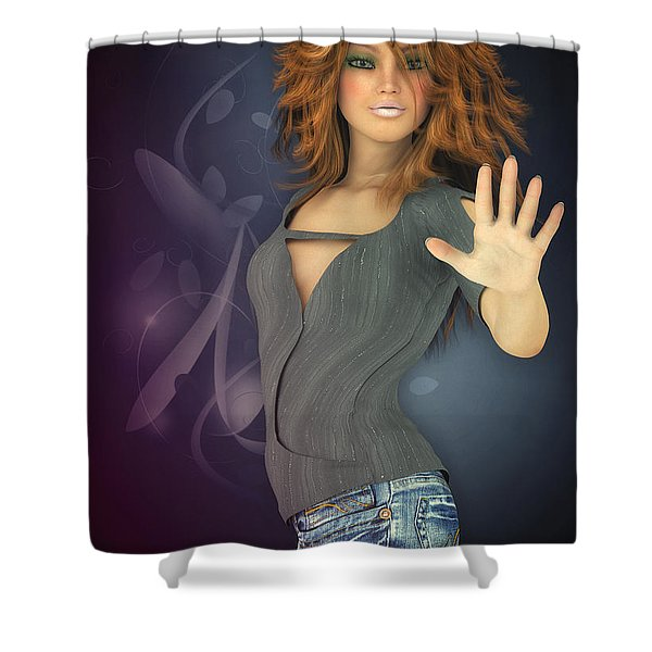 Amelie In Jeans Shower Curtain