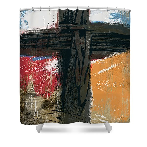 Amen Contemporary Cross- Art By Linda Woods Shower Curtain