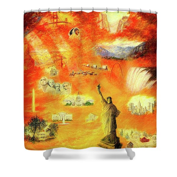 America At Sunset  Shower Curtain