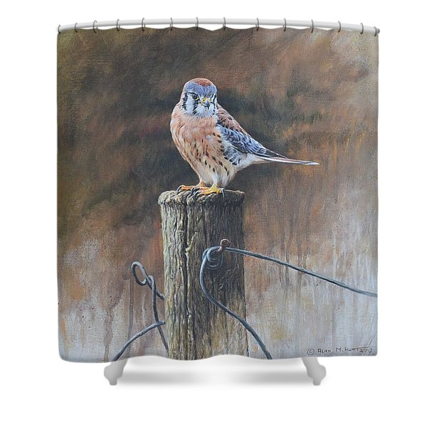 Shower Curtain featuring the painting American Kestrel by Alan M Hunt
