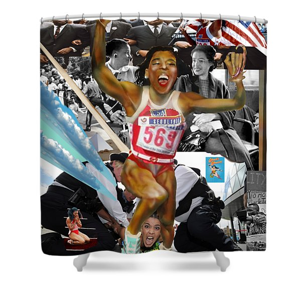 America On Her Back Shower Curtain